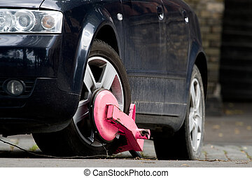 Clamped car - Clamped black car