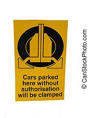 clamping warning sign