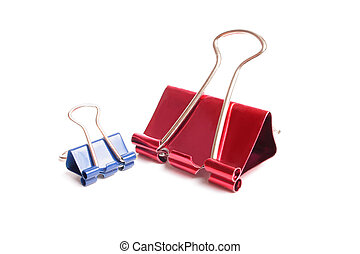 clamps - blue and pink clamp on white background