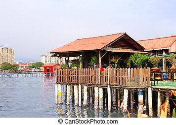 clan, penang, georgetown, maison bois, malaisie, eau, jetties