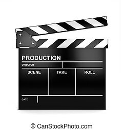 Clap board. 3d illustration isolated on white background