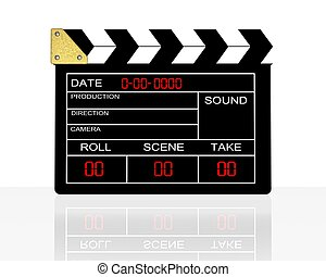clap board. - 3d illustration of cinema