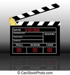 clap board - 3d illustration of cinema