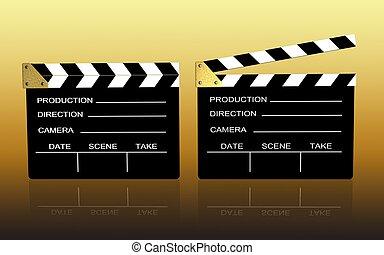 clap board. - 3d illustration of cinema.