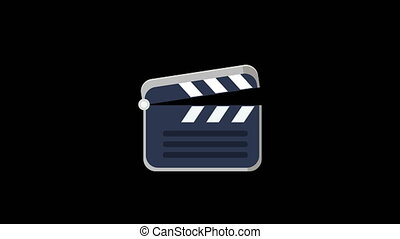 Clap board animation. - Clap board animation on black...