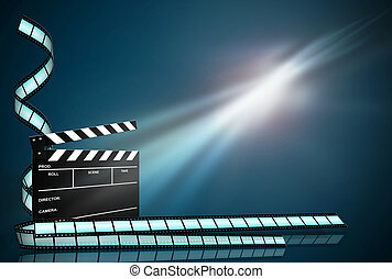 clap board ant film strip on dark blue background - clap...