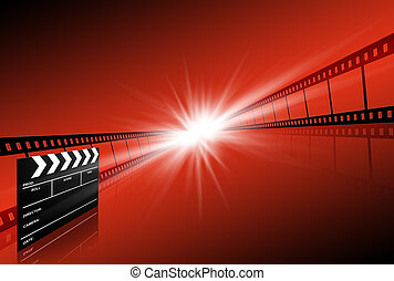 clap board ant film strip on red background - clap board and...