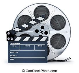 clap-board, e, película, carretel, branco, fundo