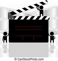 Clap board - Illustration of clap board in colour background