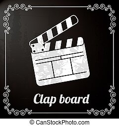 clap board over black background. vector illustration