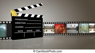 clap board. - 3d illustration of cinema .