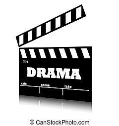 Clap film of cinema drama genre, clapperboard text illustration.