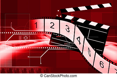 Illustration of filmroll and clap