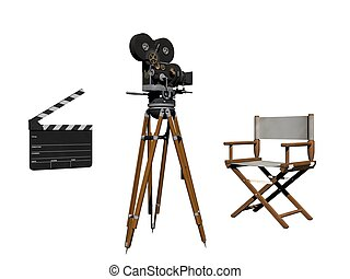 Clap of cinema white and black - 3d rendering