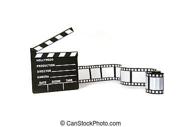 clapboard, 同时,, 电影带, 在怀特上, 背景
