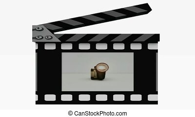 Clapboard and camcorder