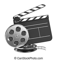 Clapboard and Film Reel with Film. - Clapboard and Film Reel...