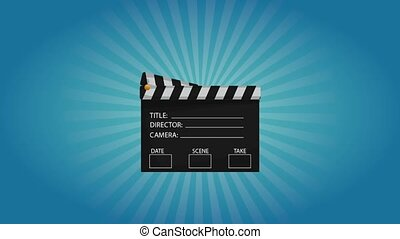 Clapboard appears over blue background HD animation -...