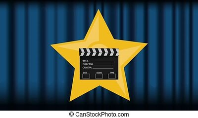 Clapboard appears over theater curtains icon