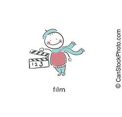 clapboard., ardesia vuota, film, o