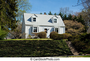 Clapboard Cape Cod Single Family House Suburban Maryland -...