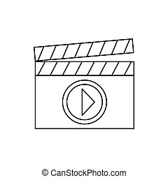 Clapboard icon in outline style