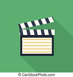 Clapboard Icon | Set of great flat icons with style long shadow icon and use for multimedia, technology, concept, animation and much more.