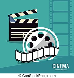 clapboard movie film cinema icon. Vector graphic