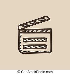 Clapboard sketch icon.