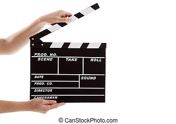 Clapboard - Female hands holding a clapboard, isolated on...