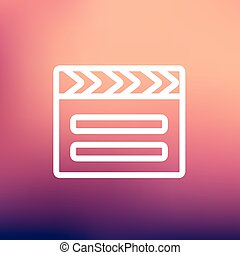 Clapboard thin line icon