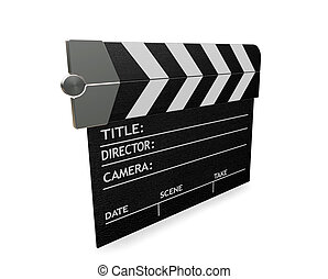 Clapper board - 3D render of a clapper board