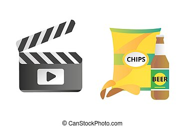 Clapper board and chips food vector illustration.