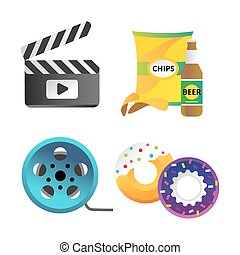 Clapper board and cinema icons vector illustration.