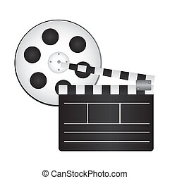 clapper board and film reel