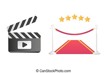 Clapper board and red road vector illustration.