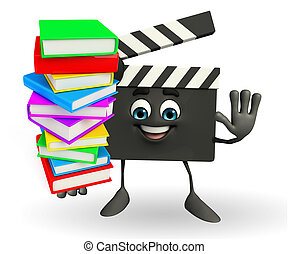 Clapper Board Character with pile of books - Cartoon...