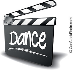 detailed illustration of a clapper board with Dance term, symbol for film and video genre, eps10 vector