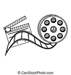clapper board film and film production icon