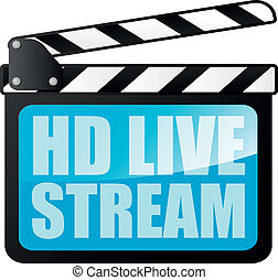 detailed illustration of a clapper board with HD Live Stream writing, eps10 vector