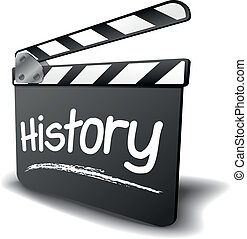 detailed illustration of a clapper board with history term, symbol for film and video genre