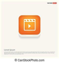 Clapper board icon Orange Abstract Web Button