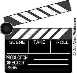 Clapper board isolated on white background