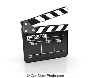Clapper board isolated on white with clipping path included