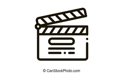 clapper board numbering Icon Animation. black clapper board numbering animated icon on white background