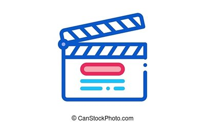 clapper board numbering Icon Animation. color clapper board numbering animated icon on white background