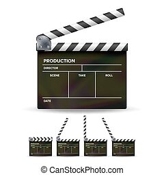Clapper Board Vector. Black Cinema Clapper Isolated On A White Background