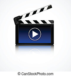 Clapper board with blue display. Cinema equipment