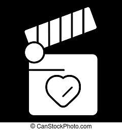 Clapper board with heart symbol. Love concept design.
