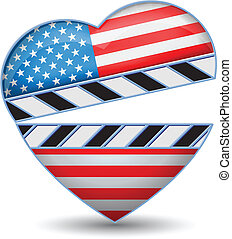 Clapper board with heart USA flag